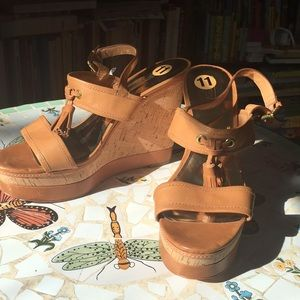 Coach NWOT leather wedges platforms